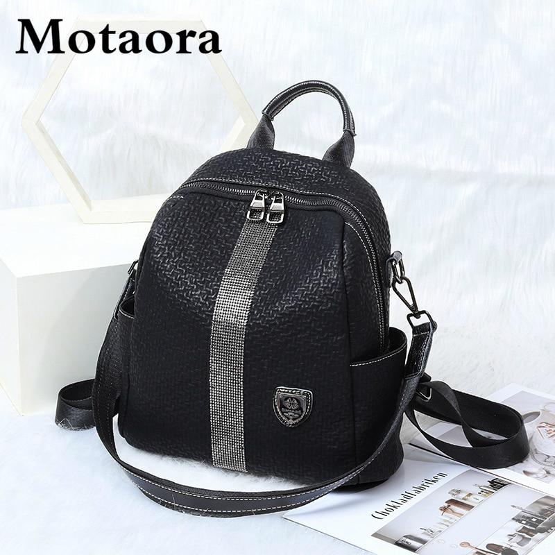 MOTAORA حقيبة ظهر نسائية على الموضة جلد طبيعي حقيبة السفر للفتيات 2021 جديد كل مباراة الماس حقيبة السيدات حقيبة مدرسية عادية