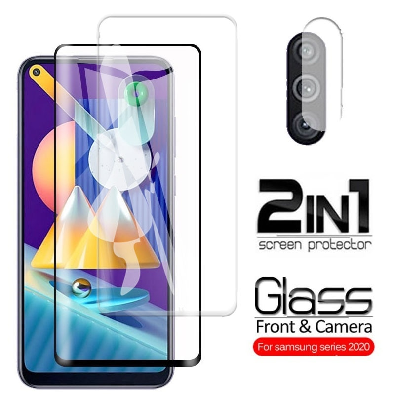 2 In 1 Protective Glass for Samsung Galaxy M11 Screen Protector Tempered Glass M 11 SM-M115F M115F 6