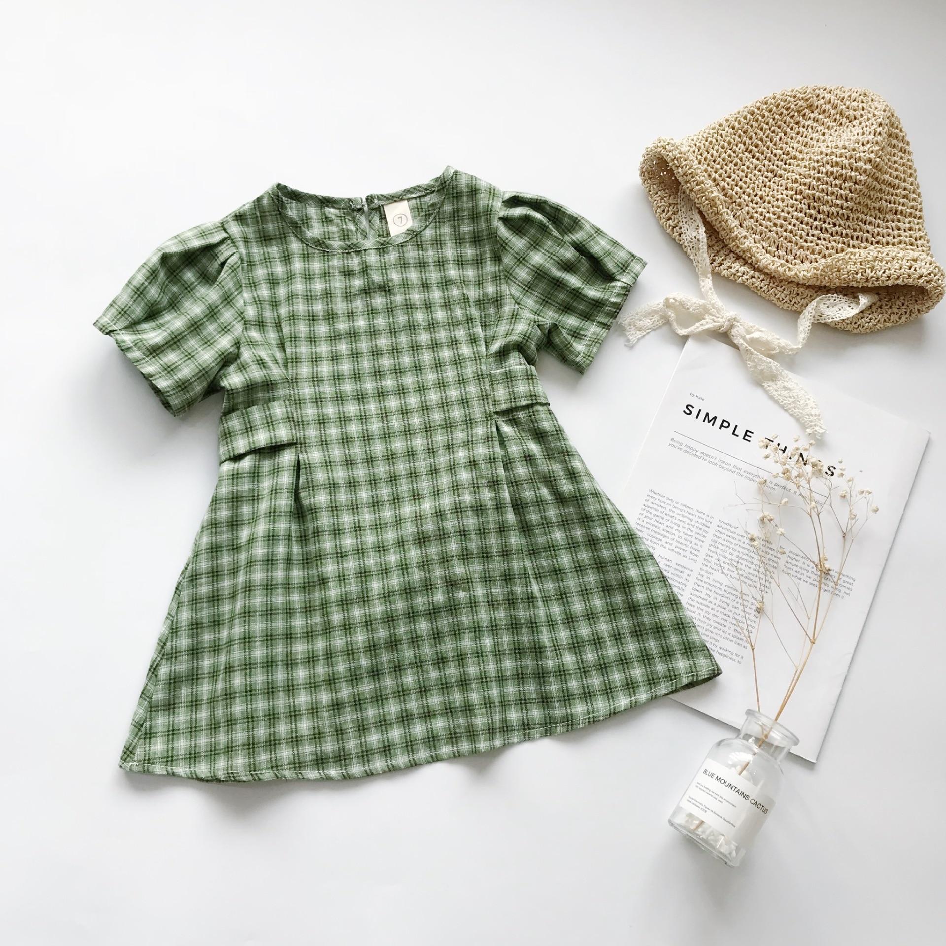 Verão novo coreano para meninas pouco fresco verde xadrez algodão bebê menina vestido