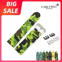 carlywet 22 24mm top quality camo green grey waterproof silicone rubber replacement watch band strap loops for panerai luminor