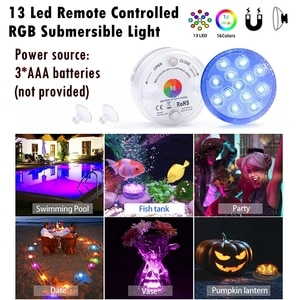 13 Led Remote Controlled RGB Submersible Light Battery Operated Night Lamp
