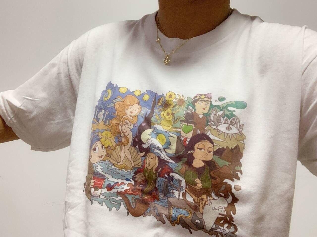 Kuakuayu HJN moda Arty Fartsy famosa pintura Van Gogh Picasso Da kinca Mona Lisa estrella noche impresa camiseta