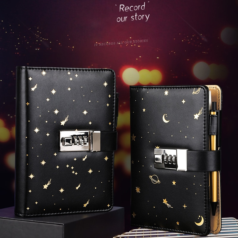 Binder A6 Notebook with Lock 6 Rings Notepad Office Diary Journal Sketchbook Black Agenda Planner Stationery Organizer Note Book