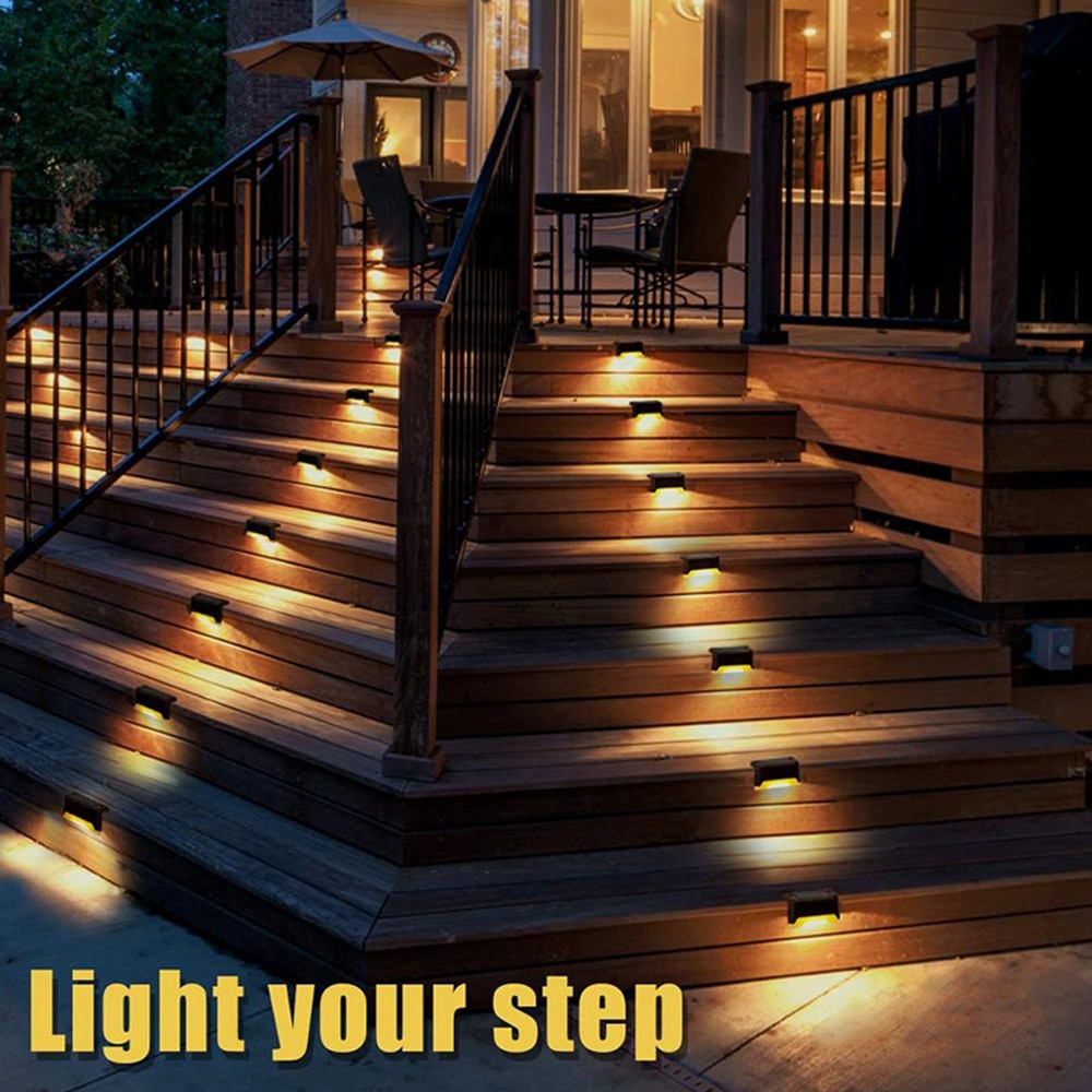 1 2 4pcs waterproof led solar stair light lamps outdoor courtyard pathway street garden stairs lamp night light energy saving 4/8pcs LED Solar Stair Lamp IP65 Waterproof Outdoor Garden Pathway Yard Patio Stairs Steps Fence Lamps Solar Night Light