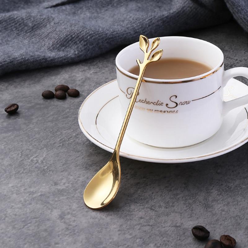 الفولاذ الإبداعي المقاوم للصدأ ملعقة فرع يترك ملعقة شوكة القهوة ملعقة هدايا عيد الميلاد اكسسوارات المطبخ أدوات المائدة الديكور