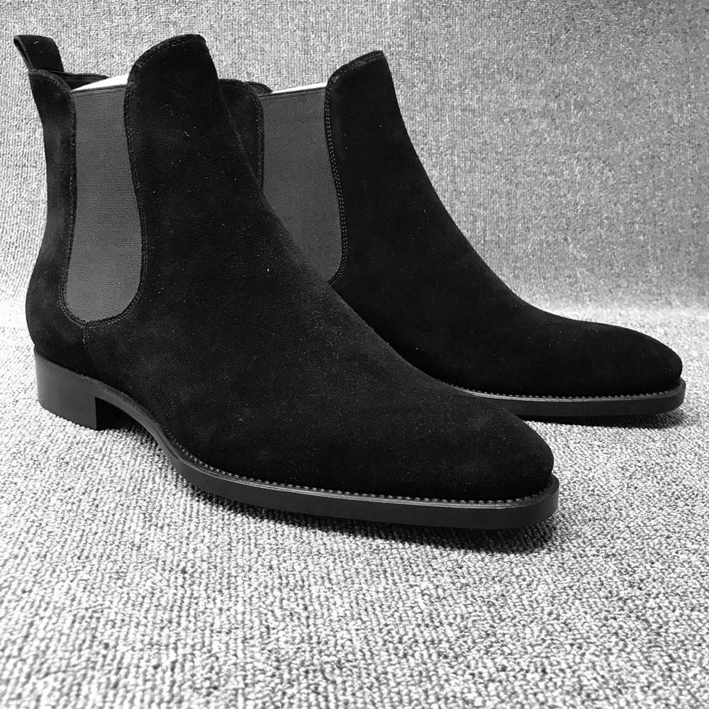 الرجال تشيلسي الأحذية الأسود براون المخملية عالية الكاحل اللباس أحذية الرجال المشي الأحذية ارتداء مقاومة تشيلسي اللباس بوتاس دي هومبر