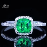 laizuan solid 14k white gold au585 6mm cushion 0 8ct treated emerald diamond engagement wedding ring for women jewelry gift