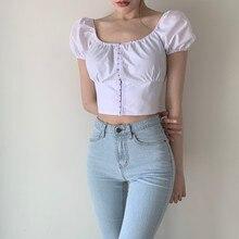Whimsical Girl Korean Style Chic Graceful Puff Sleeve Youthful Short Top + Ruffled Half-Length Skirt