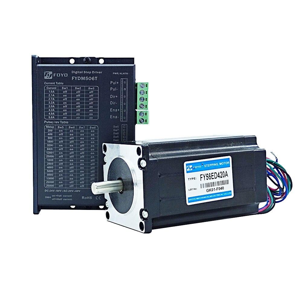 3NM طقم تحكم رقمي بالكمبيوتر مرحلتين محرك متدرج سائق NEMA23 محرك متدرج DC24V-50V FYDM506T + FY56ED420A عزم دوران عالية معدات موتور