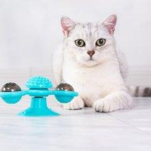 Rotation moulin à vent chat jouet plateau tournant taquin jouet pour animaux de compagnie chatouiller chats brosse à cheveux drôle chat jouet ventouses mignon