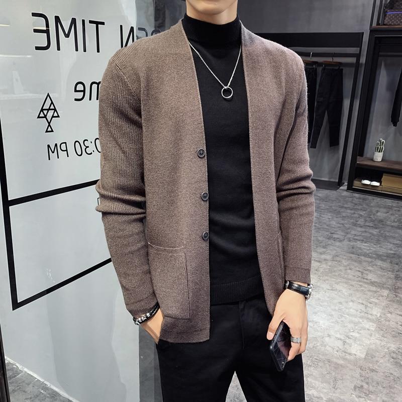 Autumn New Cardigan Men Clothing Fashion 2021 Button Decor Korean Sweater Men Front Pocket Loose Casual Mens Cardigan 3Color 3XL