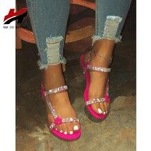 NAN JIU MOUNTAIN 2020 Flat Sandals Women Summer Rhinestone Women Sandals Beach Shoes Simple Plus Size 35-43