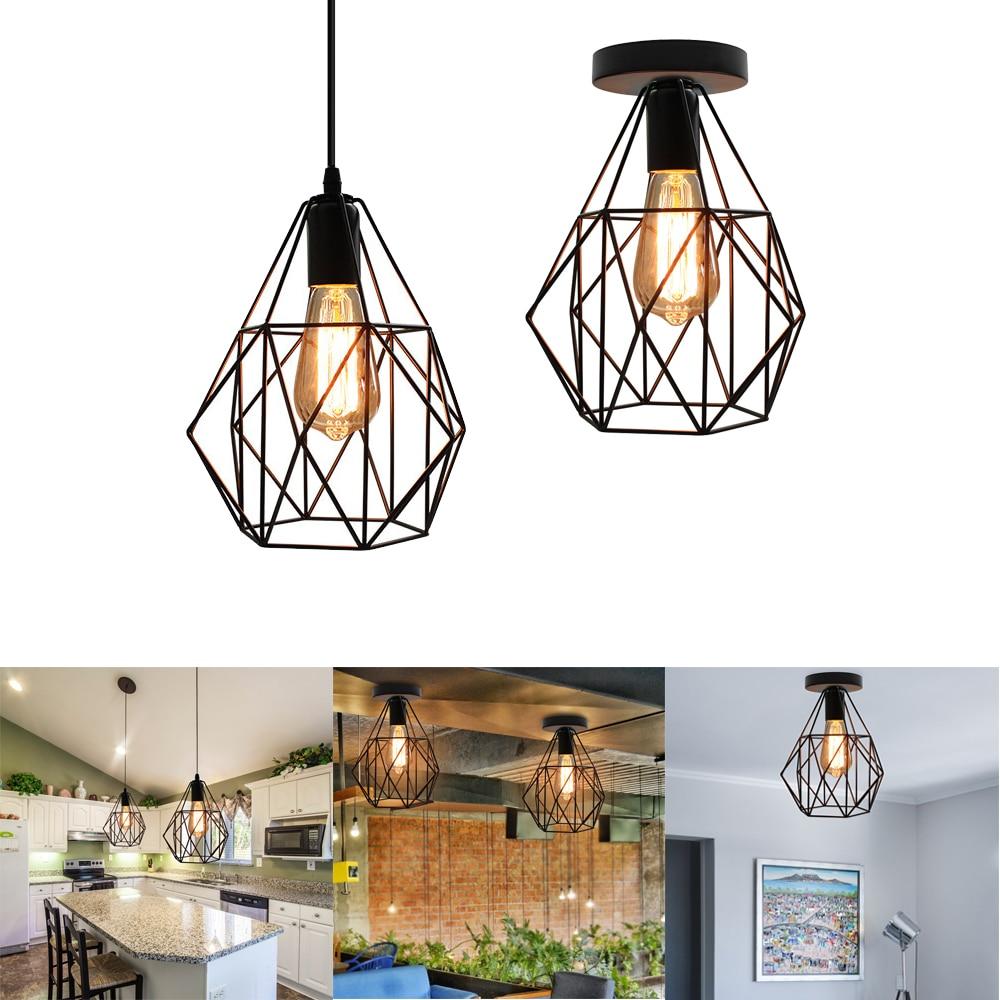 مصباح سقف معلق من الحديد على شكل قفص حديدي ، تصميم حديث عتيق ، مثالي للدور العلوي أو غرفة المعيشة أو المطبخ أو غرفة الطعام.
