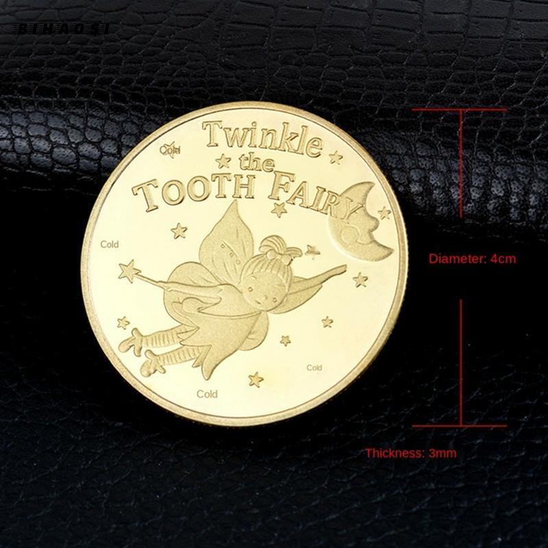 Детская памятная монета для замены зубов, позолоченная монета с мультяшными зубами, Сказочная, Юбилейный значок