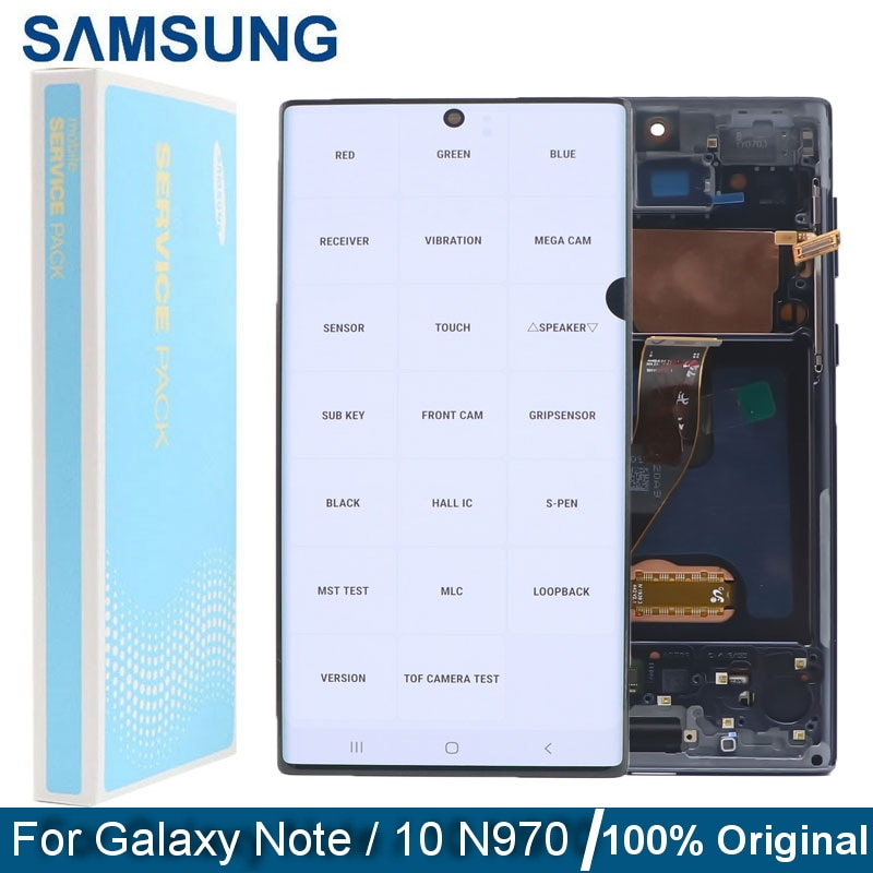 Original Super Amoled Note10 LCD With Frame For Samsung Galaxy Note 10 N970F N9700 Lcd Display Touch Screen Digitizer With spots