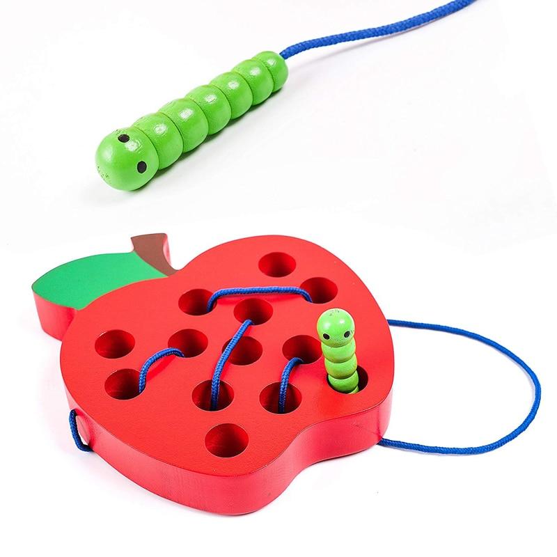 Niños juguete educativo Montessori diversión hilo de juguete de madera forma de Cognize gusano comer la fruta Apple queso de Aprendizaje Temprano Teaching Math juguete