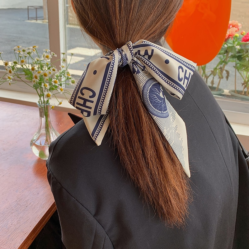 Small Long Retro French Silk Scarf Hair Band Narrow Thin Scarf Ins Style High-Grade Tie Tie-up Hair