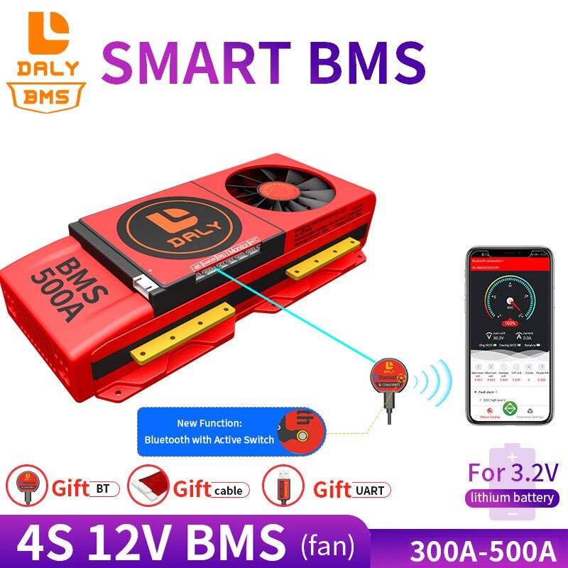 دالي BMS 18650 ليثيوم بطارية حزمة lifepo4 bms 4S 12V 300A 400A 500A مع مروحة ميناء مشترك مع التوازن ل الشمسية