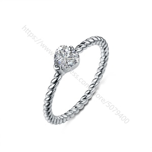 Dainty white gold plated Promise ring for her Elegant thin ring White heart CZ ring Anniversary ring jewelry