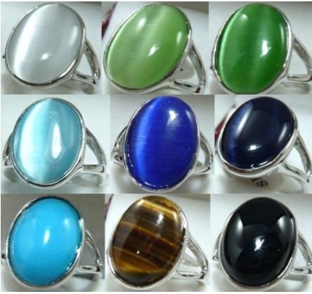 9color-13*18mm blanco/Verde/azul/negro ópalo/anillo de piedra de ojo de tigre puede elegir