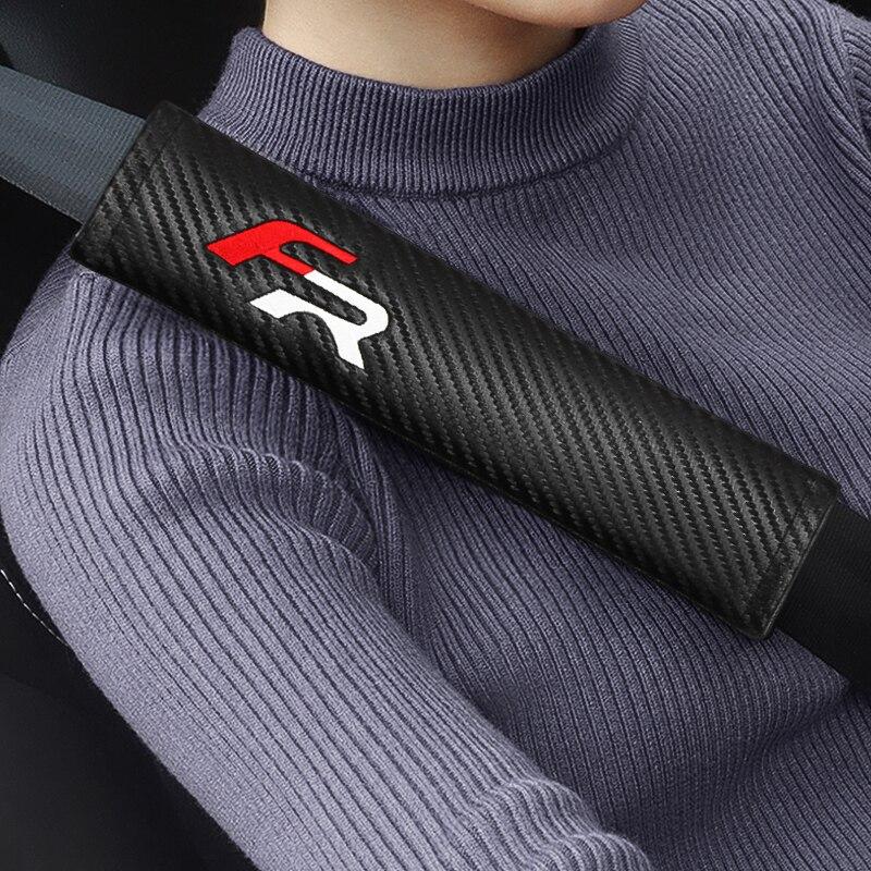 2 sztuk FR logo pasów bezpieczeństwa z miękkiego aksamitu samochodu nakładka na pas bezpieczeństwa dla Seat ibiza 6j 6l fr Ateca Altea xl leon 2 ateca fr Leon ibiza