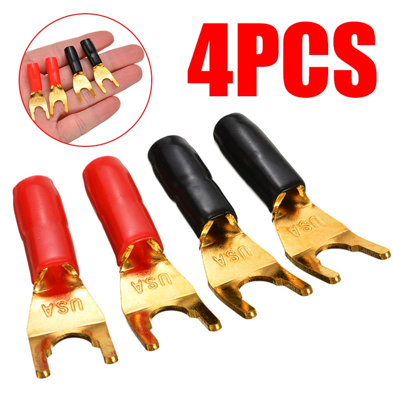 4pcs Gold Plated Spade Fork Y Type Banana Plug Cable Wire Connector Solderless Fork Y Spade Speaker Plugs Adapter Audio Terminal 4pcs gold plated 24k banana plugs nakamichi right angle 4mm banana plug for video speaker adapter audio wire cable connector