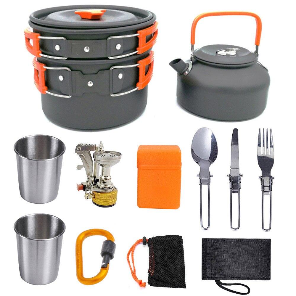 أدوات مائدة التخييم في الهواء الطلق ، سبائك الألومنيوم ، نزهة ، مقلاة ، غلاية ، إبريق شاي ، شوكة ، ملعقة ، كوب ماء ، لوح تقطيع