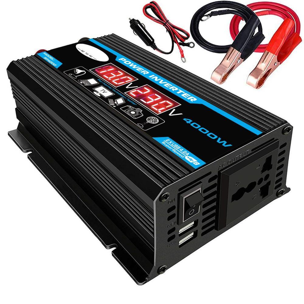 الذروة 4000 واط 12 فولت 220 فولت/110 فولت LED التيار المتناوب محول طاقة السيارة محول مهايئ شاحن inversor المزدوج USB محول تعديل شرط موجة