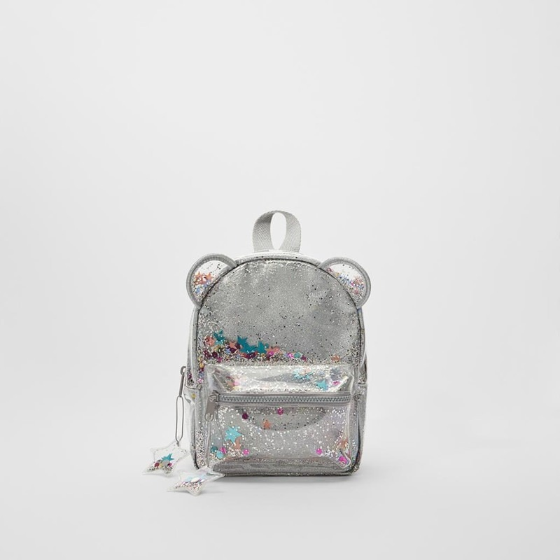 Серебряный мини-рюкзак с кошачьими ушками и блестками, Женский или милый детский рюкзак с блестками и блестками