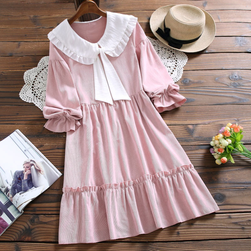 Mori girl corduroy solid cute dress new autimn fashion bow long sleeve sweet vestidos