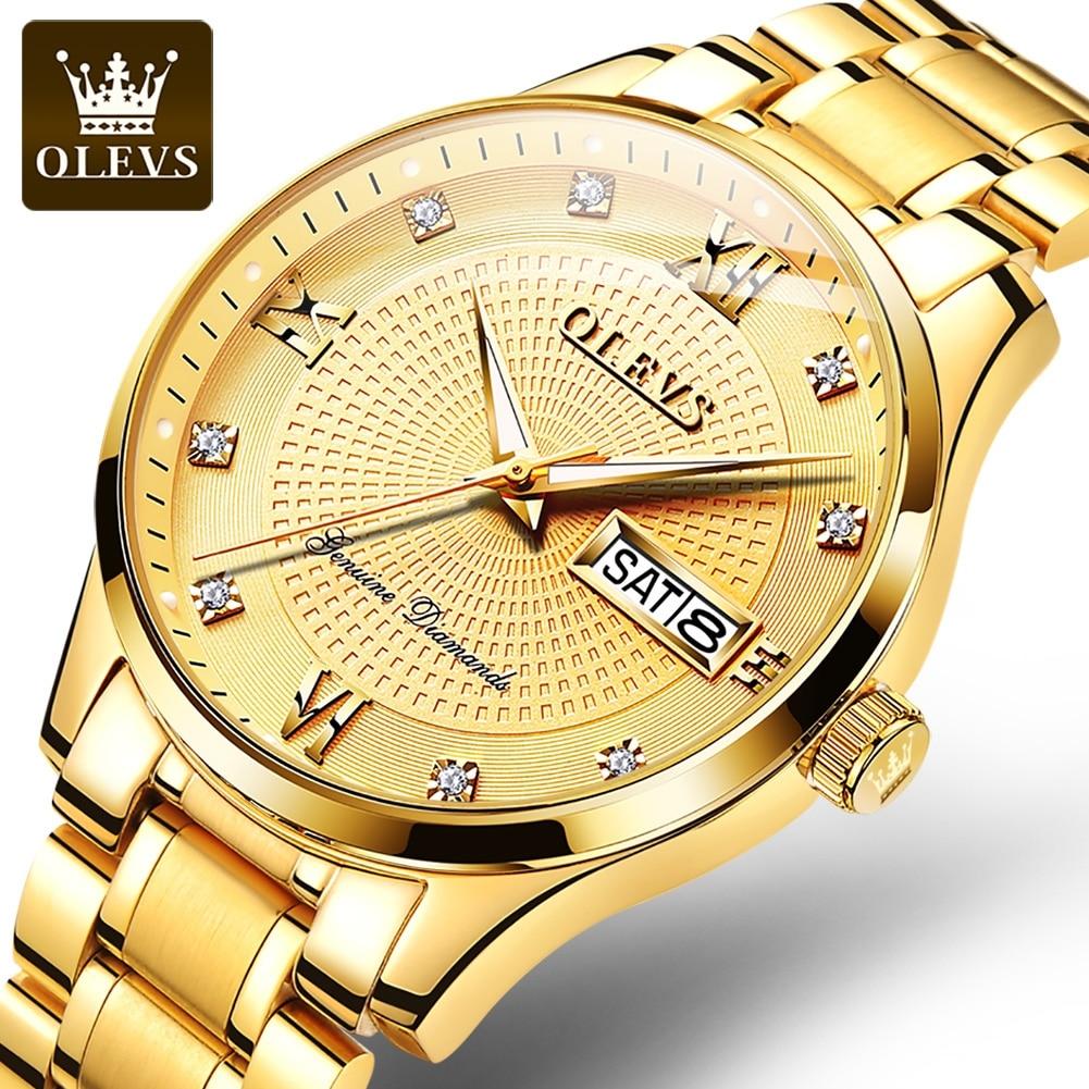 OLEVS الرجال الذهب ساعة فاخرة للرجال ساعات رجل التلقائي الميكانيكية ساعات المعصم مقاوم للماء موضة الأعمال الذكور ساعة رجالي هدية