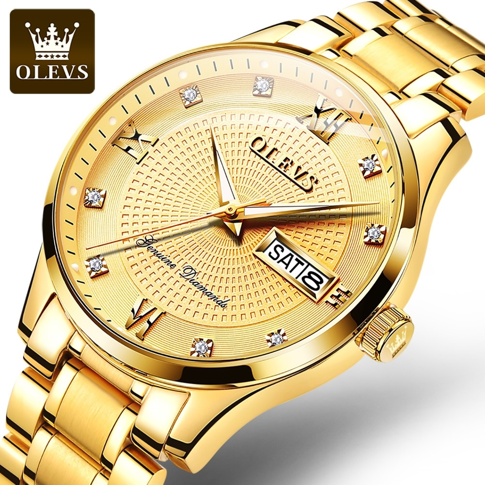 OLEVS Men Gold Watch Luxury Men's Watches Man Automatic Mechanical WristWatches Waterproof Fashion B