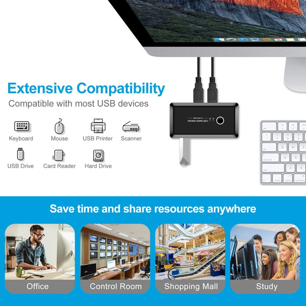 USB KVM Switch USB 3.0 2.0 Switcher 2 Port PCs Sharing 4 Devices for Keyboard Mouse Printer Monitor USB 2.0 3.0 Switch Selector enlarge