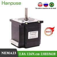 free shipping nema 23 stepper motor 23hs5628 motor 4 lead 57 series motor 2 8a 126n cm for 3d printer monitor equipment