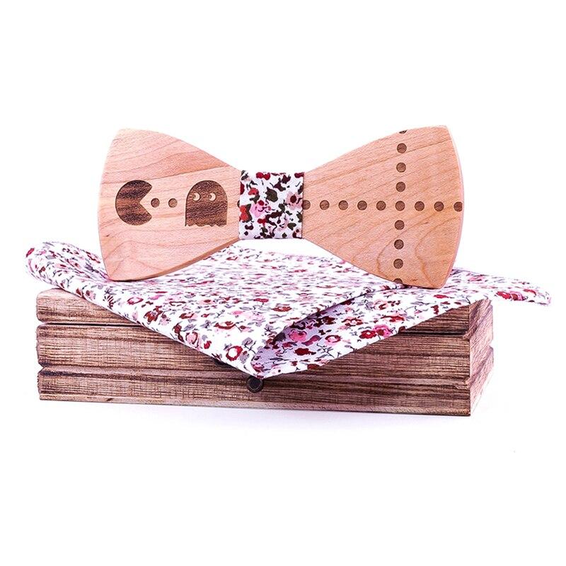 Gravura jogo ganancioso laço de madeira dos homens laços novidade feito à mão neckwear negócio borboleta festa de casamento bowtie alta qualidade