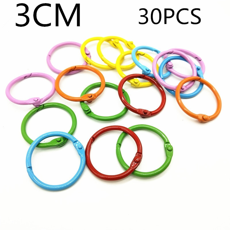 30PCS30MM candy color paint opening loose-leaf ring clip, DIY iron color paint loose-leaf ring iron wire ring small book ring недорого