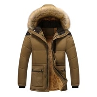 autumn winter mid length cotton padded jacket mens clothes casual plus velvet hooded fur collar coat korean style trendy male