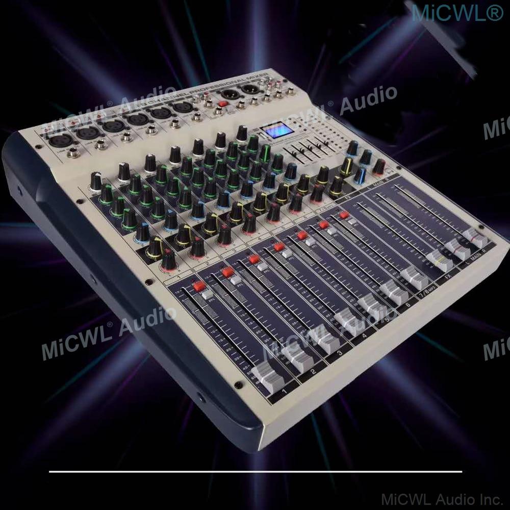 MiCWL-خلاط صوت ذو 8 قنوات ، ومضخم طاقة 600Wx2 ، ومزج صوت MP3 DJ لمكبر صوت المسرح