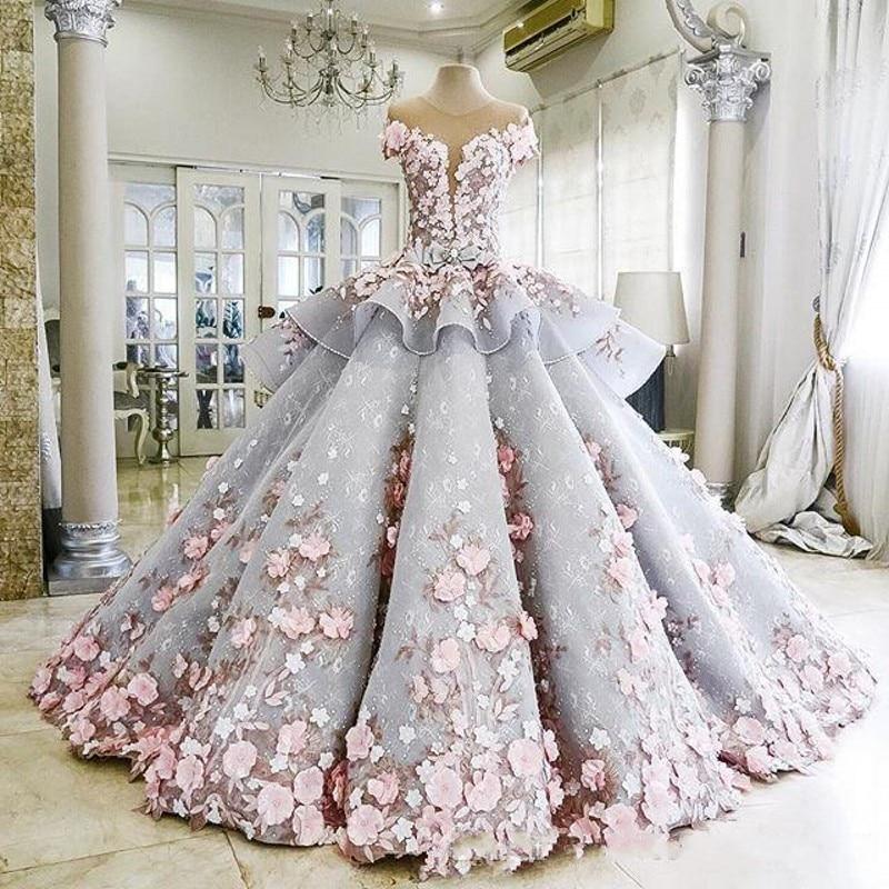 الساحرة الأميرة الكرة ثوب Quinceanera فساتين مع 3D زين اليدوية الزهور مهرجان أثواب vestidos دي 15 أنوس