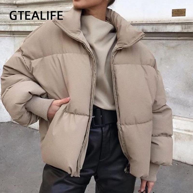 Gtealife Fashion Stand Collar Parkas Women Thick Warm Winter Bubble Coats Female Khaki Jackets Pocke