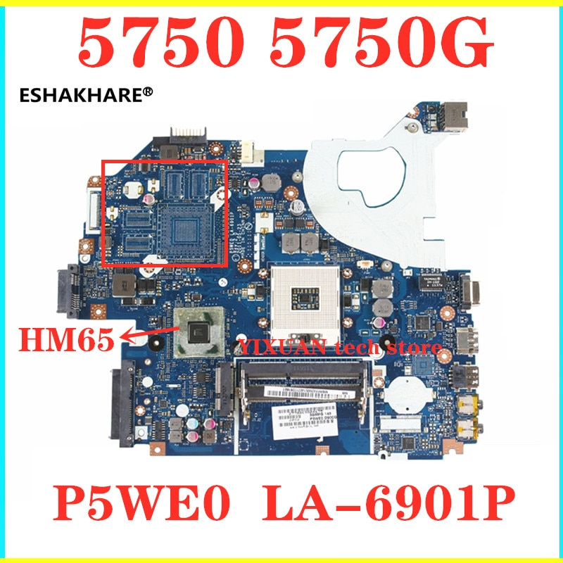 Para acer aspire 5750 5750g 5755 5755g computador mainboard p5we0 LA-6901P ddr3 hm65 placa gráfica integrada placa mãe