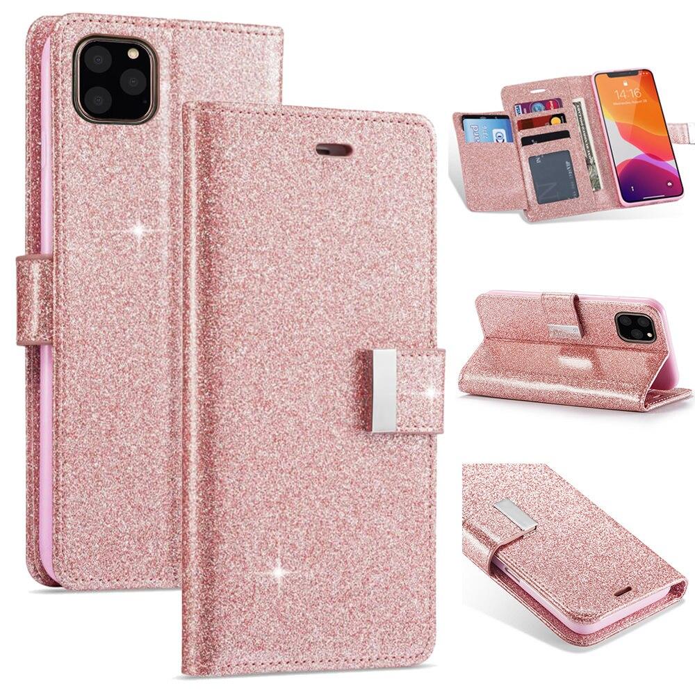 Funda de cuero tipo billetera LLZ.COQUE para Iphone 11 Pro XS Max XR 6X6S 7 8 Plus, funda magnética delgada para Iphone SE 2020 5 5S