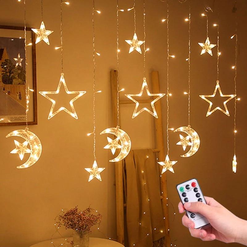 Christmas Lights Led 3.5M Curtain String Light Garland Star Moon 220V/110V Fairy Lights Outdoor/Indoor For Home Festival Decor