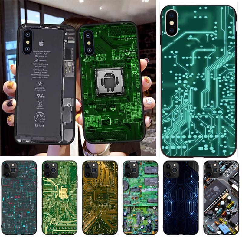 Penghuwan placa de circuito recém chegado preto caso de telefone celular para iphone 11 pro xs max 8 7 6 s plus x 5S se xr