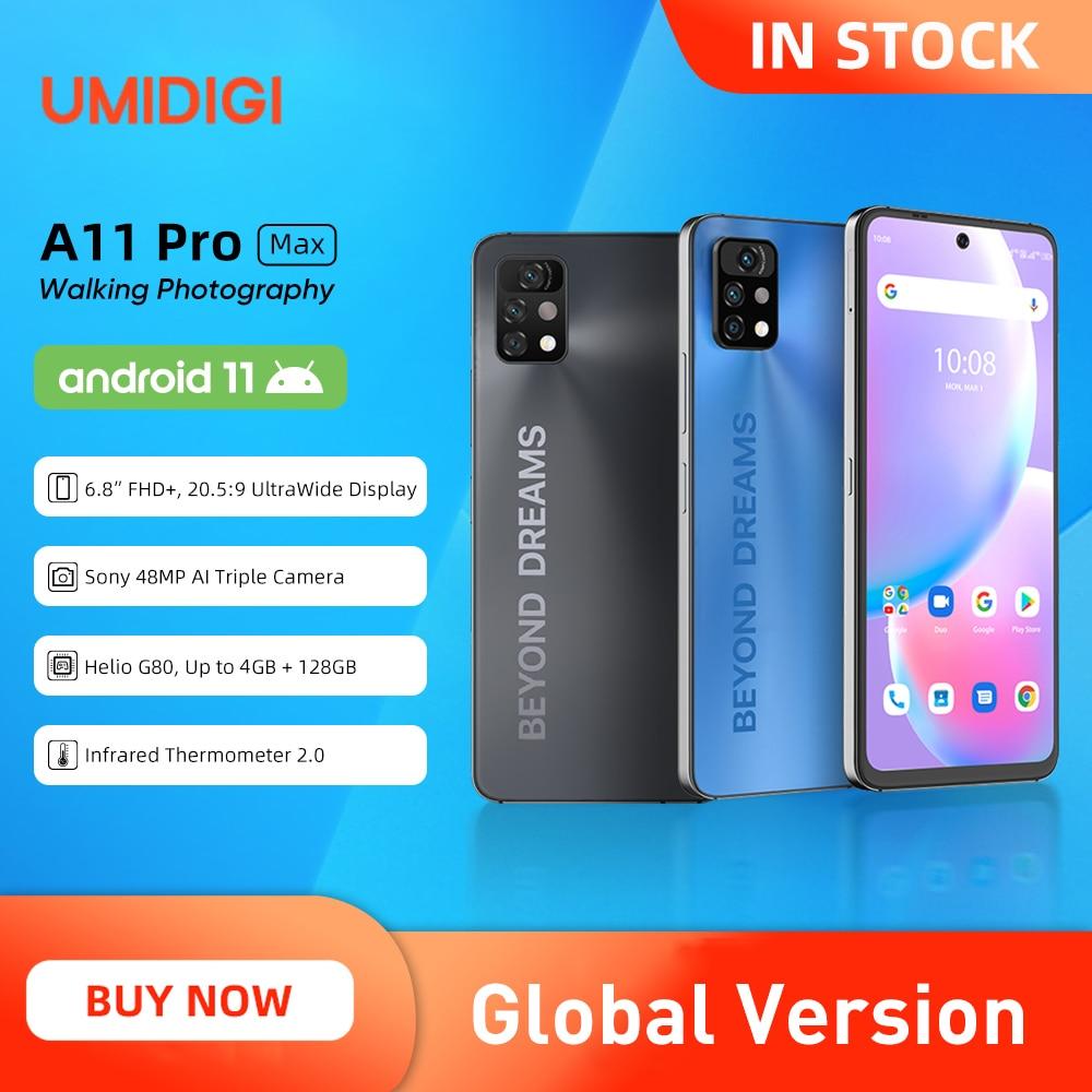 هاتف UMIDIGI A11 Pro Max بشاشة 6.8 بوصات كاملة الوضوح ، هاتف هيليو G80 محمول ، ذاكرة وصول عشوائي 4 جيجابايت 128 جيجابايت ، كاميرا 48 ميجابكسل ، كاميرا ثلاثية...