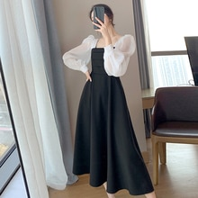 Women's New Autumn Dress A-line Skirt Casual Sweet Fashion Style Retro French Puff Sleeve Square Nec