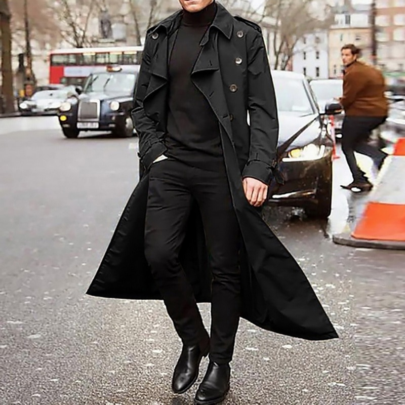 Long Slim Men Trench Coat Double-breasted Lapel Windbreaker Male Fashion Autumn Winter Coat Long Des