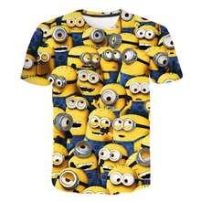 3D baby Cartoon Print Minions T shirt kids Cute Banana boys girls Clothes T-Shirt Summer O'Neck Yellow Clothes Dropship 4T-14T