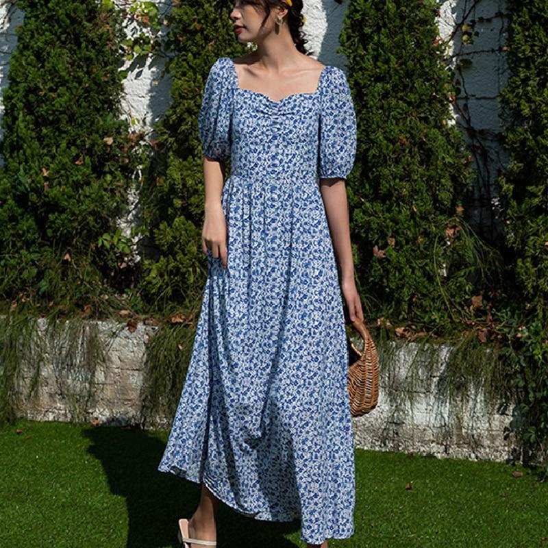 Women Long Floral Chiffon Dress Summer 2021 Runway Maxi Elegant Vintage Boho Backless Fairy French Casual Vacation Party Vestido