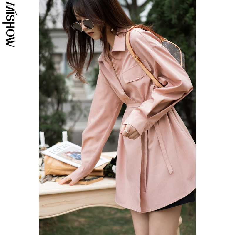 MISHOW 2020 여성용 봄 셔츠 MX21A4389